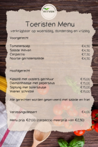 Toeristen menu Witven
